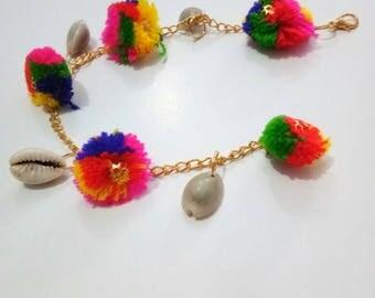Jewellery, Bracelets, Hand Jewellery, Handmade Bracelets, Bracelet, Multicolor Bracelet, Pompom Bracelet, Pom Pom Bracelet, Chain Bracelet