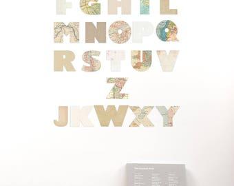 Cardboard alphabet wall