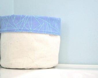 bag / fabric basket / storage / decor / geometric / purple blue / green / accessory / toy / makeup / baby / plant