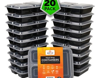 20 pack 3 Compartment Bento Lunch Boxes with Lids