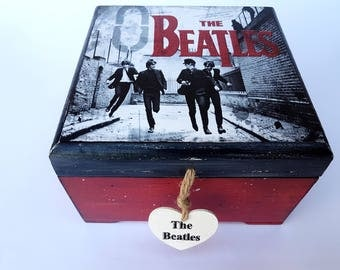 The Beatles Beatles box Beatles lover Box Decoupage Box Shabby Chic Box jewelry wooden box Storage Box Vintage Box Shabby Chic furniture