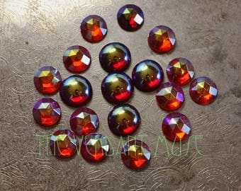 Mixed Lot of 19 Vintage Glass Cabs- 10-12mm Rose Cut Siam and Hyacinth AB Foiled Flat Back Gems