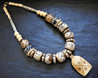 Tribal Bone Necklace Statement Necklace Batik Necklace Carved Bone Beads Ethnic Statement Necklace Chunky Necklace African Bone Beads