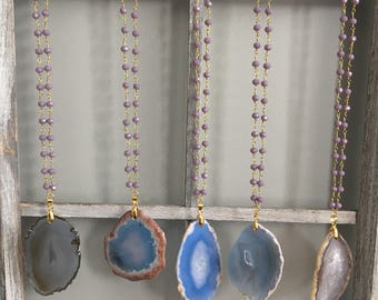 Blue and Cream Agate Slice Necklace
