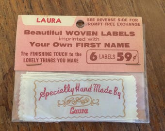 """Vintage """"Handmade by Laura"""" Sewing labels- personalized"""