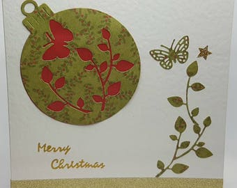 Green and Red Bauble Christmas Card with Butterfly