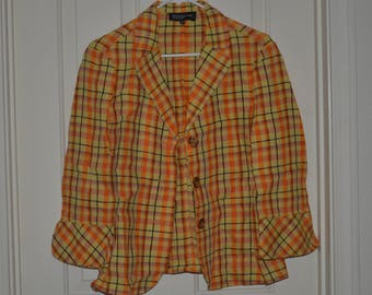 20% off Jones New York Collection Plaid Button Up Women's Blazer Jacket Size 10