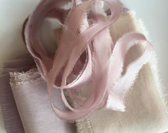 hand dyed silk ribbons in bundle of soft shades of pink/taupe/mink, stationery ~ weddings ~ bouquets ~ gifts ~paper crafts ~ styling