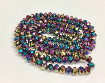 Metallic Purple Rainbow rondelles, 2x3mm, (145-150) beads/faceted  roundelles, crystal roundelles, glass roundelles, roundelle beads