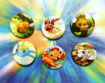 Choose Your Buttons - Set Of Six Bug Type Pokemon Buttons!