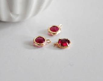 Round pendant gold plated 24 carat Red Ruby color
