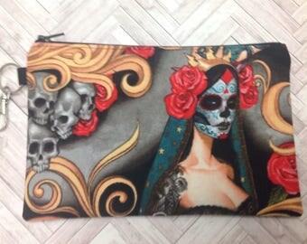 Day of the Dead Zipper Pouch ~ Las Elegantes Bright Smoke ~ Gothic Pouch ~ Dia de los Muertos