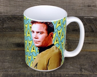 Captain Kirk Mug Star Trek sci-fi gifts for dad fathers day HER Him tv movie lovers gift shatner insignia beam me up i guess
