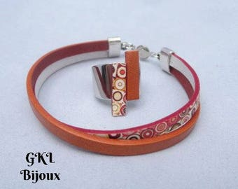 Orange leather cord bracelet