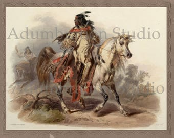 A Blackfoot Indian on Horse-Back, American Indian Print, Karl Bodmer, 19th Century Painting, Archival Print