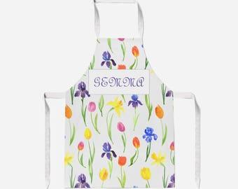Spring Flowers Apron.  Apron.  Choice of strap colours. Adult Apron. Child Apron.