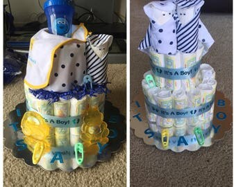 Small baby boys diaper cake