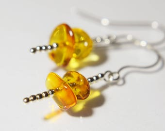 Genuine Baltic Amber Earrings, Real Amber Earrings, Simple Earrings, 925 Silver Earrings, Amber & Silver Earrings, Amber Dangle Earrings
