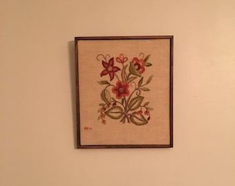 Floral embroidered wall hanging