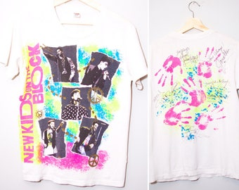 Vintage 1989 New Kids On The Block Yearbook Signed Shirt | Size Medium