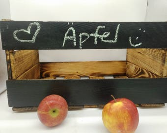 Rewritable wooden crate, washable, chalk, Obstkiste, Apple crate, apples, potatoes, potato crate, onions, Vorratskistekiste, chalkboard,