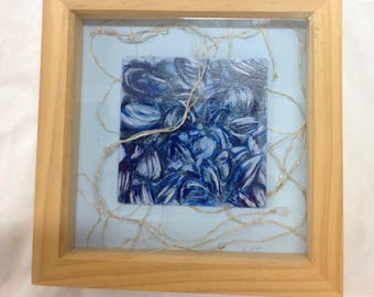 Mussels and sea rope box framed picture