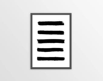 BRUSH STROKES print, brush stroke art, Black and White Abstract Wall Art, Printable Instant Download, black white poster, printable ART