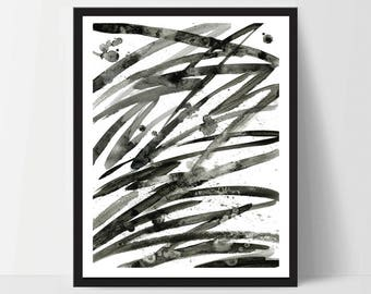 Brush Stroke Art, Black and White Print,Abstract Watercolor,Watercolor Art, Modern Art prints, Minimalist Printable Art, Abstract Printable