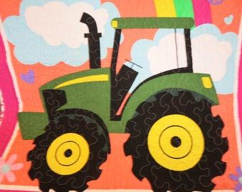 Gift for girl, John Deere Quilt, John Deere Blanket, Girl Quilt, Peace, Love, and Tractors Quilt, Wall Hanging