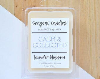 Calm & Collected Lavender Wax Melts, Lavender Blossom Melts, Floral Scented Wax Cubes, Aromatherapy Wax Melts, Relaxation Wax Tart, Soy Wax