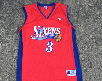 Vintage Allen Iverson Champion Basketball Jersey (Sz 40) Medium Philadelphia 76ers The Question The Answer 90s