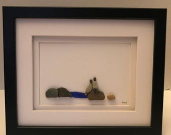 Pebble art / two by the water/ framed art/ unique gift/ one of a kind/ nature inspired