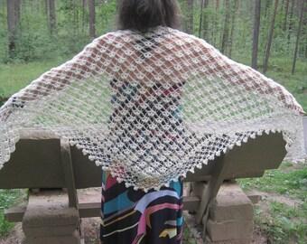 SHAWL - Crocheted - ivory- Openwork shawl