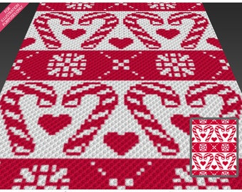Winter Abstract 1 crochet blanket pattern; c2c, cross stitch; graph; pdf download; no written counts or row-by-row instructions