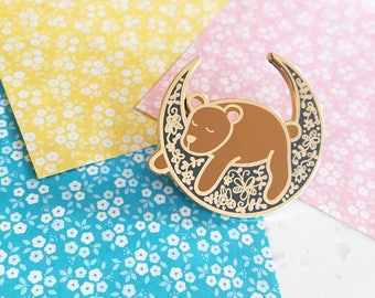 Moon Bear - Hard enamel pin - kawaii accessories, cute pin, bear lapel pin, bear enamel pin, bear pin, cute bear enamel pin, teddy bear pin