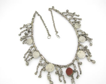 lively necklace with authentic antique Yemen Bedouin beads and ornaments (#2033)