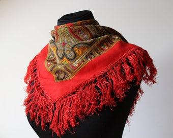 Vintage shawl.Large Red Pattern Shawl.Pattern shawl.Russian scarf shawl.Vintage wool shawl.Russian Shawl.Wedding shawl.Pattern scarf.