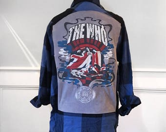 The Who  Flannel Tee Rock and Roll Hall of Fame t shirt on new men's small flannel shirt blue and black buffalo plaid Band Tshirts