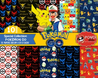 INSTANT DOWNLOAD|| Pokemon Go- papers ||12x12 ||3600x3600l|10 papers|| Printable|| Seamless Patterns||