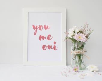 Framed Pink Foiled Wall Art | You Me Oui Wall Art Print | Wall Decor | Home Decor | FREE UK SHIPPING |