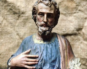 Saint Joseph. Religious statue. antique french. Plaster statue. late 19th. French religious.