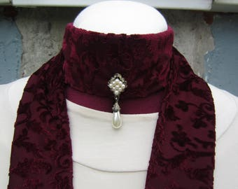 Skinny Scarf - Extra Long Scarf - Statement Necklace - Burgundy Scarf - Wine Scarf - Beaded Choker Scarf - Victorian Scarf - Jeweled Scarf