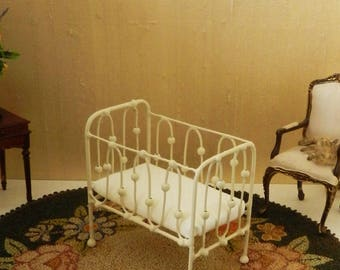 "Artisan Made Dollhouse Miniature Wrought Iron Look Baby Crib ""BOBBLE"" 1:12 Scale"