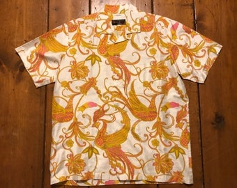 Thai silk button up short sleeve shirt Made in Bangkok Size 48 XL Floral print