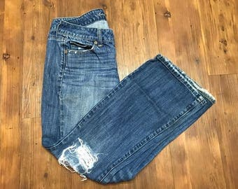 American Eagle Boyfriend jeans Womens size 2 Dark blue wash Distressed Style Great condition womens pants