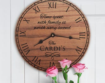Time Spent With Family Is Worth Every Second - Custom Family Name on Clock - Personalized Clock Family Name - Time Spent With Family Clock