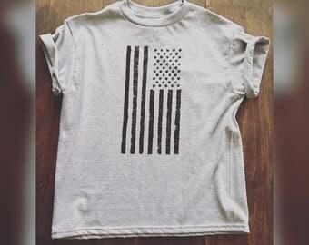 Kids American Flag Tee/off shoulder tee