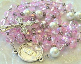 Pink Crystal and Pearl Rosary