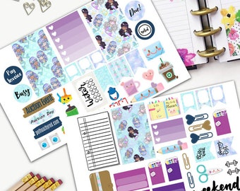 Mermaid Kawaii Theme Planner Weekly Sticker SMALL Kit, CLASSIC Happy Planner Sticker, Weekly Set, Stickers, Printed, Cut, Bamboo, Girl, Sea