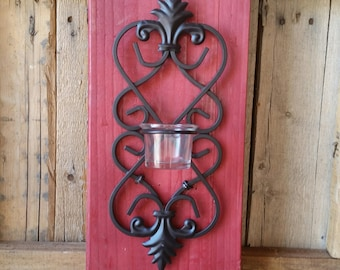 Red Wood Plank with Candle Holder